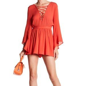 DANCE AND MARVEL RUFFLE SLEEVE ROMPER